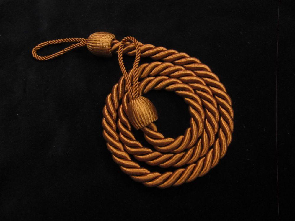 2 Rope Curtain Tiebacks Brown Slender Slinky Cord Drape